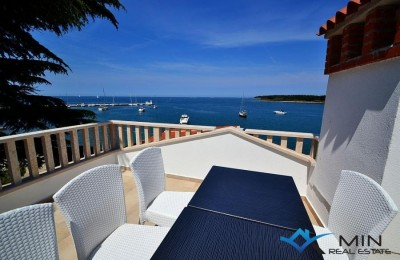 Attractive apartment with roof terrace first row to the sea in Novigrad